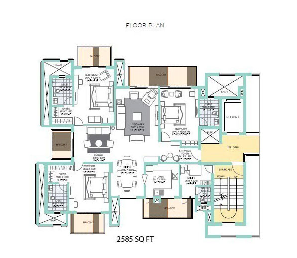 3 BHK with Servant & Family Lounge